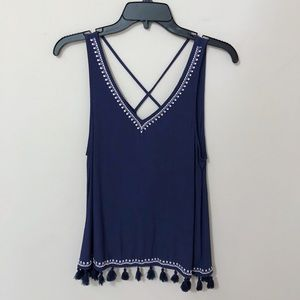 NWT blue embroidered tank top with tassel hem